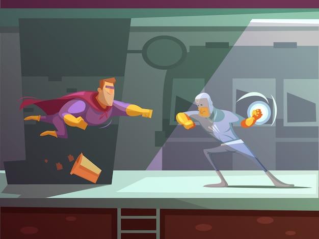 Dos superhéroes luchando