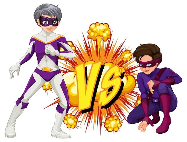 Dos superhéroes peleando entre sí.