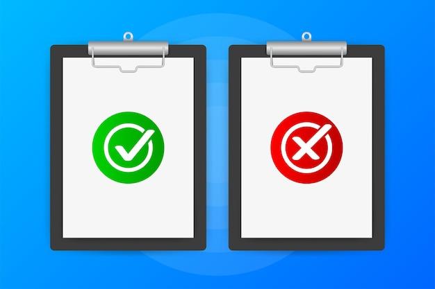 Dos tabletas con signos de sí o no sobre un fondo azul.