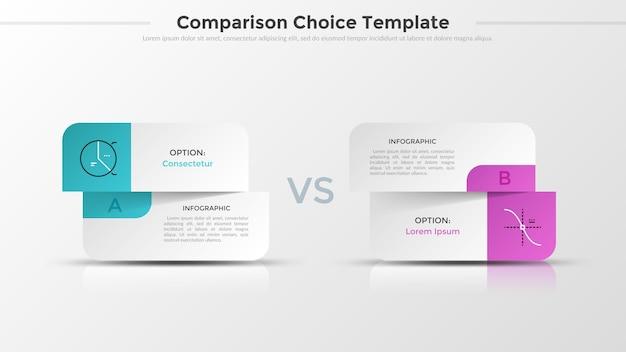 Dos tarjetas blancas de papel divididas con símbolos lineales y lugar para texto o descripción. concepto de comparación o elección entre 2 opciones. diseño de infografía realista. ilustración vectorial.