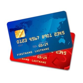 Dos tarjetas de crédito coloridas brillantes con chip en blanco