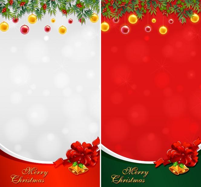 Dos tarjetas de navidad con bolas y campanas