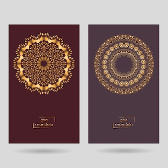 Dos tarjetas ornamentales con mandala.