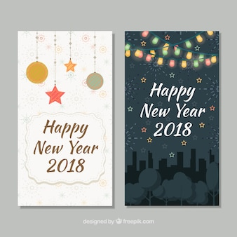 Dos tarjetas para el feliz año nuevo 2018