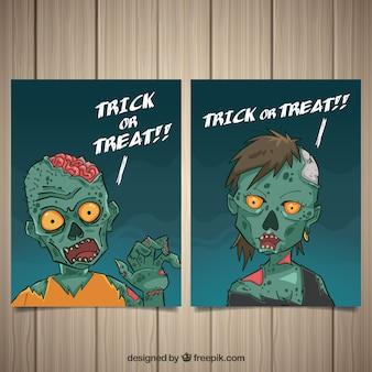 Dos tarjetas de zombis de halloween