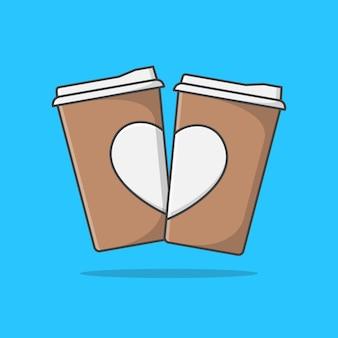 Dos taza de café de papel con corazón