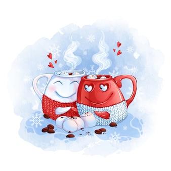 Dos tazas con café caliente se visten en estuches de punto y se aferran a las asas.