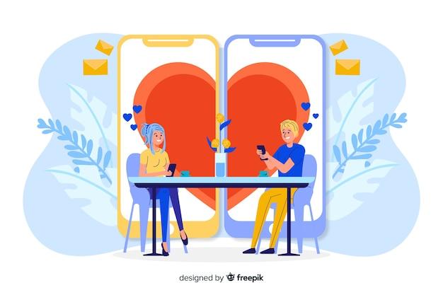 Dos teléfonos creando una forma de corazón.