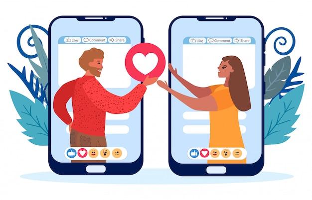 Dos teléfonos móviles planos con gente que le gusta
