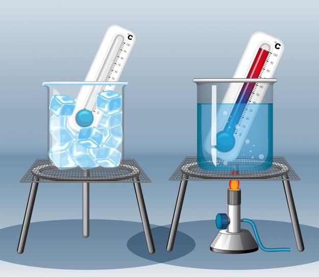 Dos termómetros en agua fría y caliente.