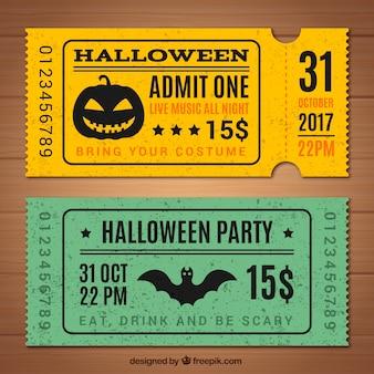 Dos tickets retro de halloween