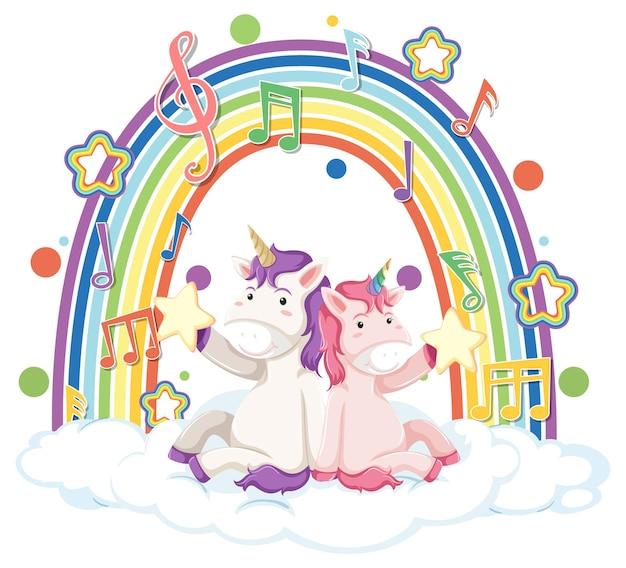 Dos unicornios sentados en una nube con arco iris y símbolo de melodía