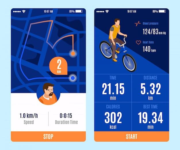 Dos variantes de diseño de la aplicación móvil de paseo en bicicleta con botones de inicio y parada y tiempo de duración distancia calorías velocidad parámetros isométricos ilustración vectorial