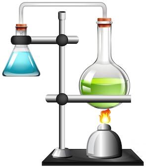 Dos vasos con líquido en soporte de anillo