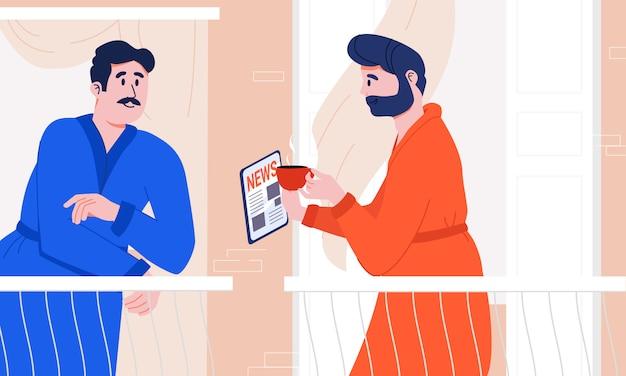 Dos vecinos en batas de baño discuten las últimas noticias levantando café por la mañana en el balcón de su casa. hombre leyendo hechos interesantes desde tableta a un amigo. rituales cotidianos. hábitos de estilo de vida moderno.