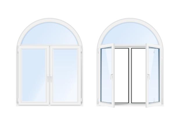 Dos ventanas de arco aisladas y realistas.