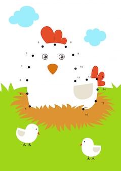 Dot to dot juego educativo para niños ilustración