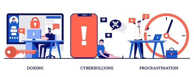 Doxing, cyberbullying, concepto de procrastinación con personas diminutas