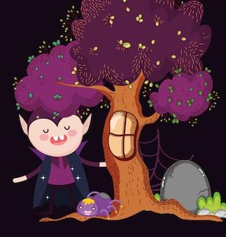 Drácula con araña árbol halloween