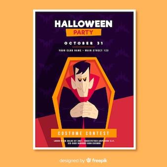 Drácula en un ataúd flyer fiesta de halloween