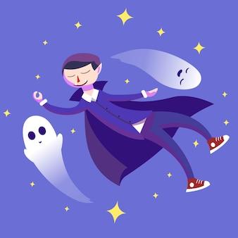 Drácula y fantasma de halloween