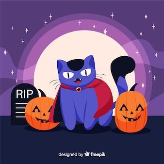 Drácula gato rodeado de calabazas