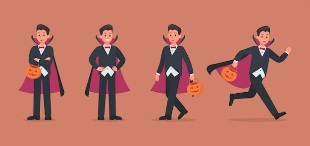 Drácula de halloween con conjunto de caracteres de calabaza