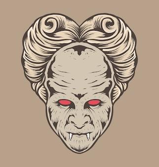 Drácula monstruo clásico dibujado a mano