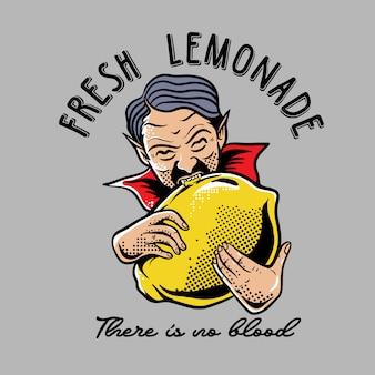 Drácula mordiendo limón