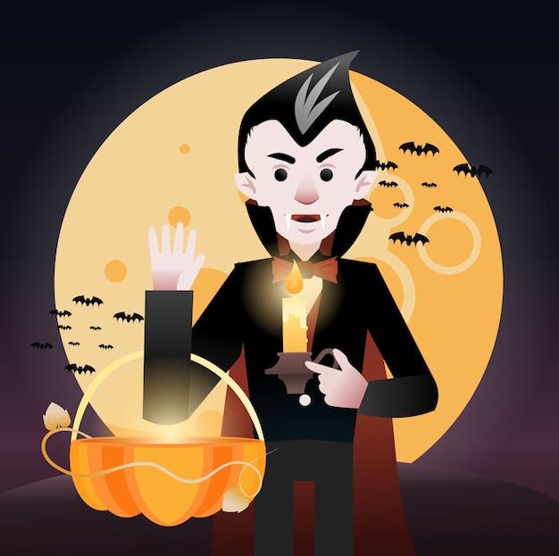 Drácula sosteniendo una canasta bajo la luna llena