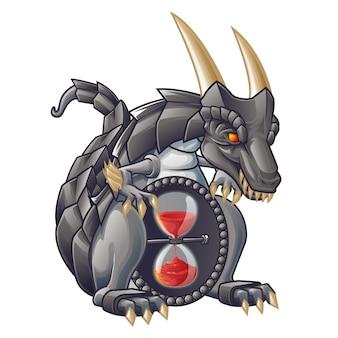 Dragón aislado vector del temporizador de arena.