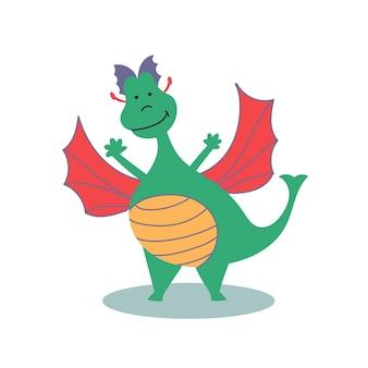 Dragón alegre personaje de cuento de hadas