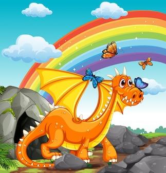 Dragón y arco iris
