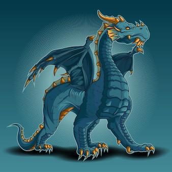 Dragón azul, ilustraciones vectoriales de dragón de hielo