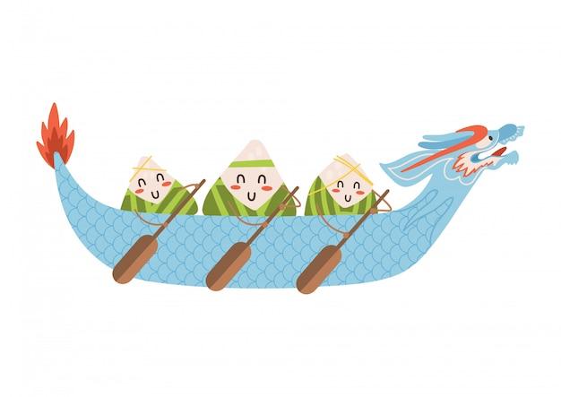 Dragón barco festival dumplings personajes con remos en mano en hermoso barco azul. ilustración plana aislada sobre fondo blanco.