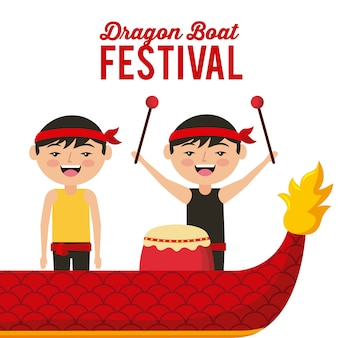 Dragon boat festival happy chineese men with drum music
