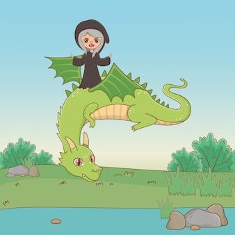 Dragón y bruja del cuento de hadas.