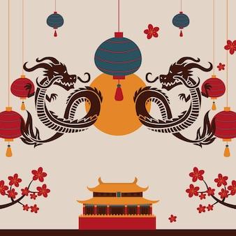 Dragón chino escena oriental tradicional