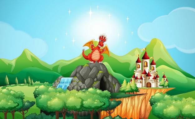 Dragón en la cueva junto al castillo