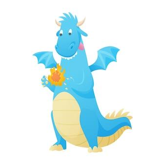 Dragón de dibujos animados lindo libélula dino personaje dinosaurio bebé para niños cuento de hadas dino ilustración aislado en blanco.