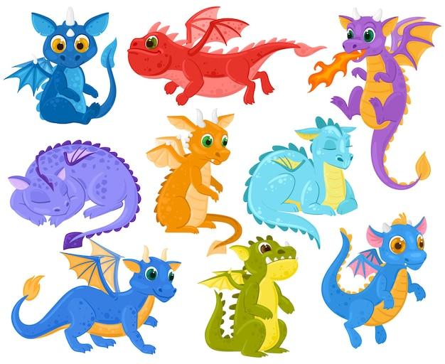 Dragón de dibujos animados para niños fantasía linda criatura mascotas. divertidos bebés dragón, leyendas medievales y personajes de dino de cuentos de hadas conjunto de ilustraciones vectoriales. monstruos dragón de fantasía