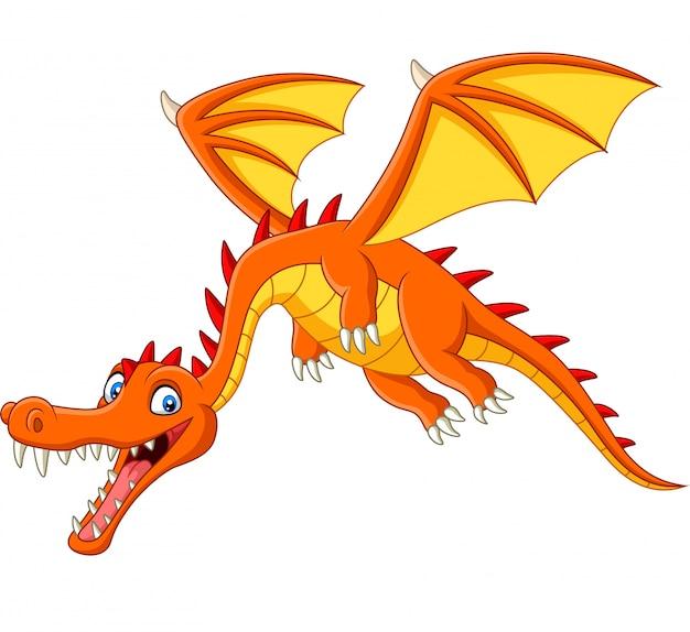Dragón de dibujos animados volando sobre fondo blanco
