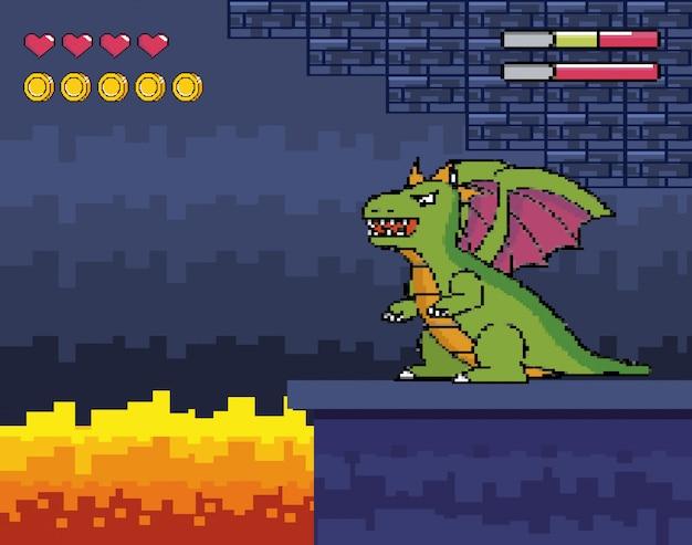Dragón con escena de fuego y monedas con barras de corazones.