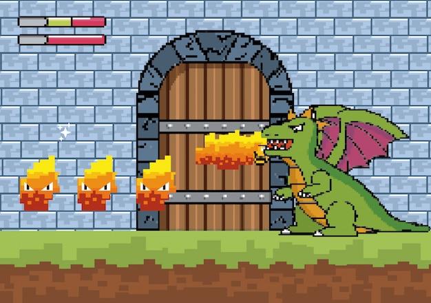 Dragón escupe fuego y personaje en la puerta del castillo.