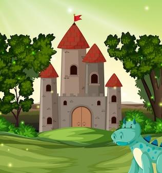 Dragón frente al castillo.