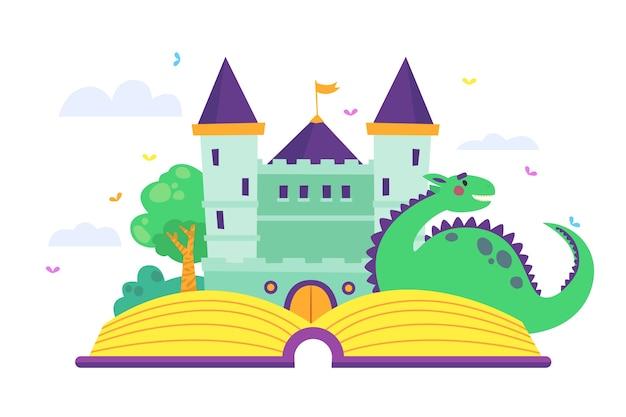 Dragón frente al concepto de cuento de hadas del castillo