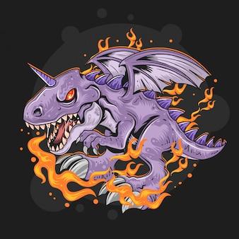 Dragón fuego vector