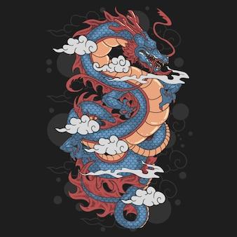 Dragon y ilustraciones en la nube