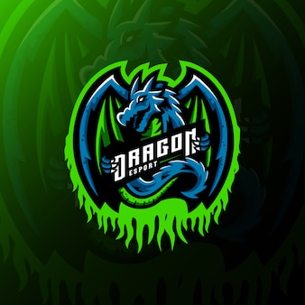 Dragon mascota logo esport gaming ilustración