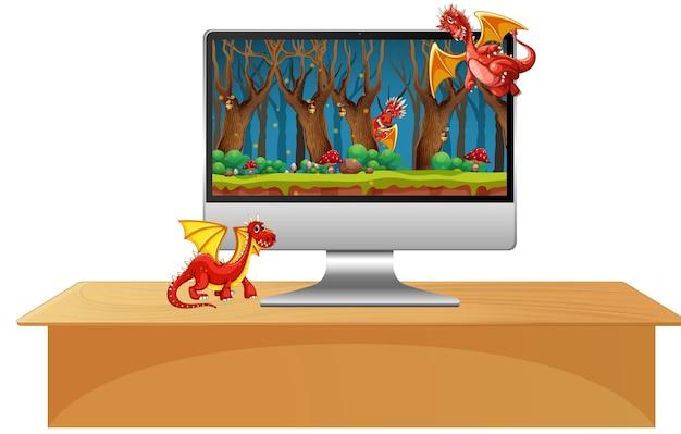 Dragón en la pantalla del escritorio de la computadora